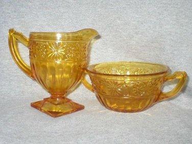 Indiana Glass Amber Gold Daisy Sugar Creamer