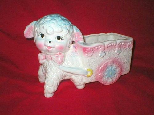 Ardco Vintage Baby Lamb Pull Cart Pot Planter