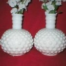 Fenton White Milk Glass Perfume Bottle Bud Vases