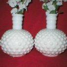 Fenton White Milk Glass Perfume Bottle Bud Vases