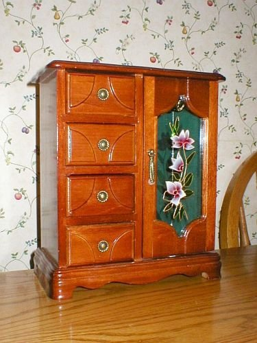 Wood Glass Door 4Drawer Jewelry Box Cabinet
