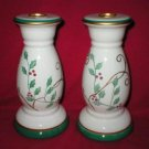 Ceramic Christmas Holly Candle Holder Candlesticks