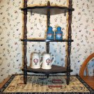 Rustic Wood 3 Shelf Curio Corner Wall Shelf