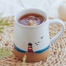 Hand painted ins style creative underglaze color sea lighthouse seagull beach ceramic mug water cup