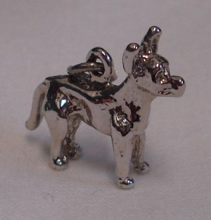 WOOF! Vintage Sterling CHIHUAHUA DOG Charm BIG EARS!