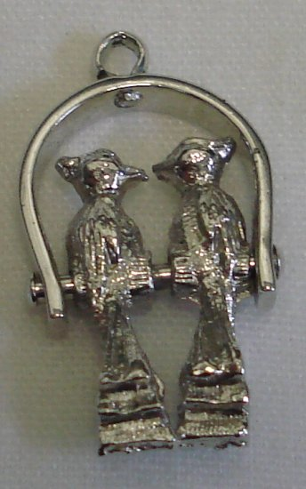 MECHANICAL Vintage Sterling LOVEBIRDS on a PERCH Charm MOVES!