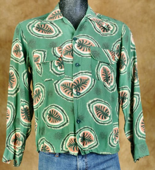 Vintage 40s Green Rayon Fronds LC Shirt Loop 15/33 M