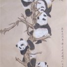 Chinese Original Painting Pandas on Tree