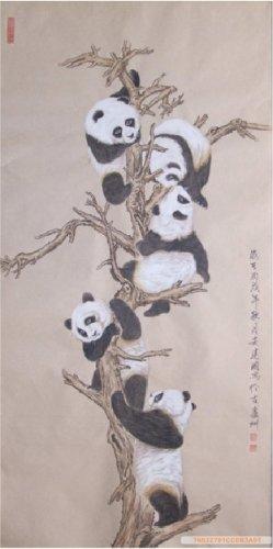 Chinese Original Painting Pandas on Tree