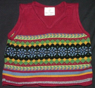 Hanna Andersson Sweater Vest boys red nordic 80 18 24