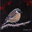 """ORIGINAL """"Robin"""" Acrylic painting on a 380 g/m"""" stretched canvas. Size 20 x 20 x 1.6 cm"""