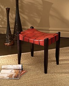 Bowed Red Leather Stool