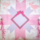 CUSTOM PREMADE QUILTED BABY SCRAPBOOK PAGE ITS A GIRL