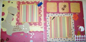 2 CUSTOM PREMADE SCRAPBOOK DOG PAGES THE DROOL FACTOR