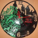 """LIFE IS MUSIC Laser Cut Vinyl Record Wall Clock upcycled from an Old 12"""""""