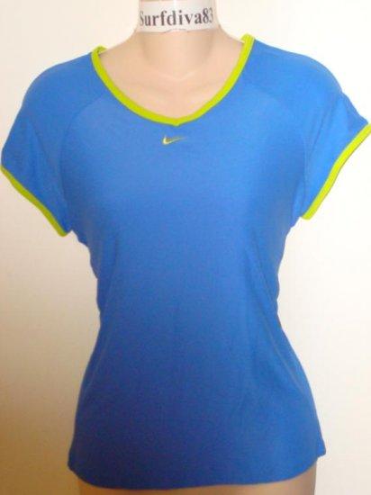 Nwt M 8-10 NIKE DRI-FIT Women Border Tee Top Shirt New Medium Blue Lime