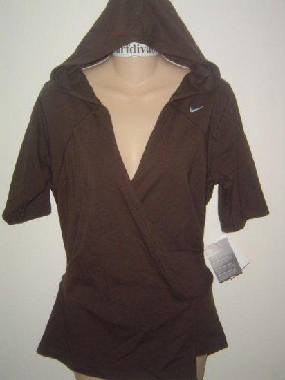 Nwt M NIKE Women Wrap-Up Soy Hoody Top Shirt New $65 Medium Brown