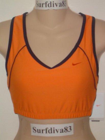 Nwt L NIKE DRI-FIT Women Sport Bra Top Shirt New $32 Large Orange Strength