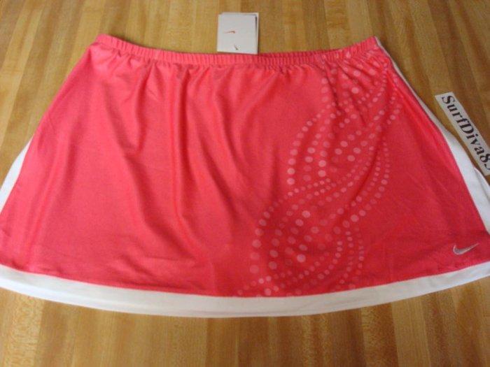 NwT L NIKE DRI-FIT Border Tennis Skirt Women New $55 Pink Printed