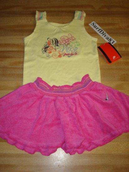 Nwt 18 NIKE Girl Tank Top Skirt Set New Baby Pink/Yellow