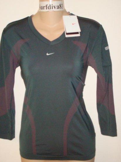 Nwt M NIKE + DRI-FIT Ipod Running Women Top Shirt New Medium Gray Pink