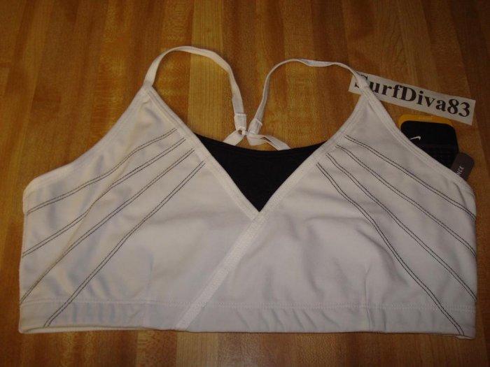 NwT XL NIKE Sport Bra Top New Women DRI-FIT SHIBUYA $38 XLarge White