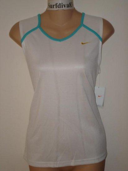 Nwt M NIKE DRI-FIT Running Women Tank Top Shirt New Medium White Blue