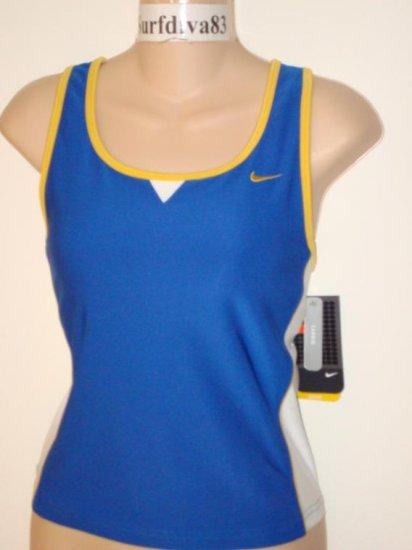 Nwt L NIKE DRI-FIT Women Strength Tank Top Shirt New Large Blue
