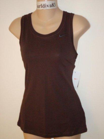 Nwt L NIKE DRI-FIT Women Fitness Tank Top Shirt New Large Brown