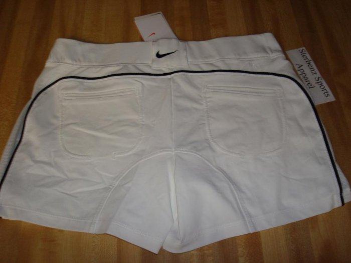 Nwt M NIKE Women Power Control Tennis Shorts New DriFit Medium 8 10 White Black 2 in 1