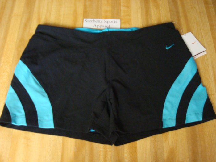 Nwt L NIKE Women Fit Dry Land Shark 2-in-1 Shorts New Large Black Blue