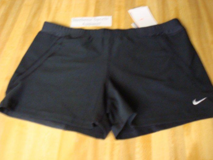 Nwt XL NIKE Women DriFit WorkOuT Running Shorts New Xlarge 16 18 Black Personal Best Acceleration