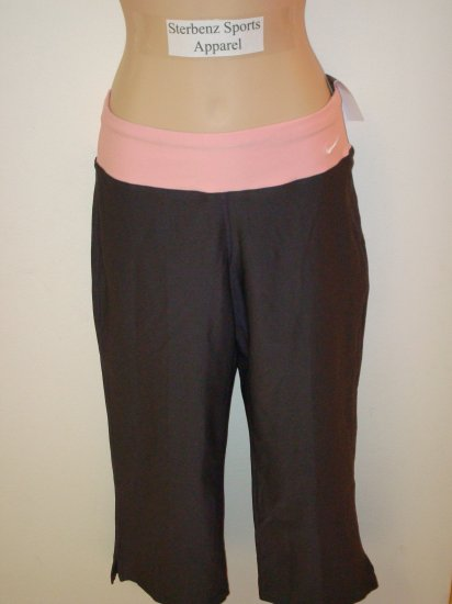 Nwt M NIKE Fit Dry Women Gray PERFECT Capri Pants New Medium 8 10 Anthracite Sheen Pink Fitness