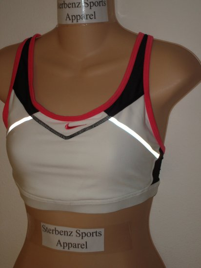 Nwt L NIKE Women Dry Fit Reflective Sport Bra Top New Large White Pink Black