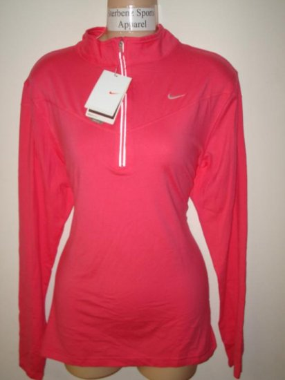 Nwt L NIKE Women Fit Dry Base Layer Half Zip Top New Large Flamingo Pink Running