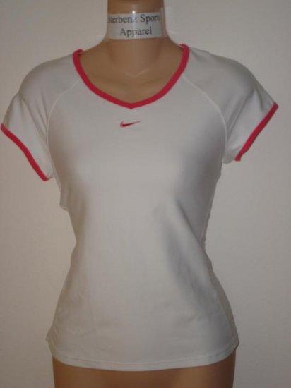 Nwt S NIKE Women Fit Dry Border Tennis Top Shirt New Small White Flamingo Pink