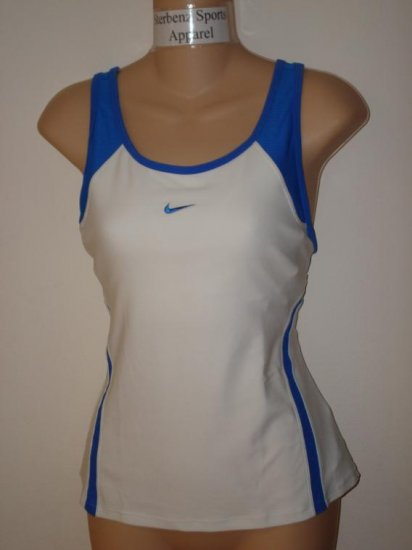 Nwt M NIKE Women Fit Dry Statement Tennis Tank Top New Medium White Blue