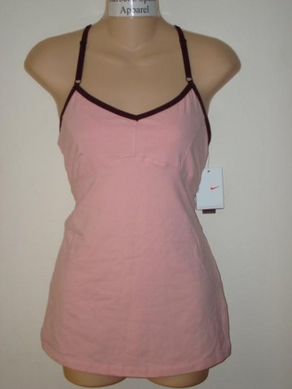 Nwt M NIKE Women Fit Dry Athlete Yoga Cami Tank Top New Medium Pink 244259-628