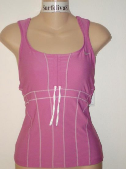 Nwt M NIKE Women Keep It Movin Corset Tank Top New $50 Medium Cool Rose Pink White