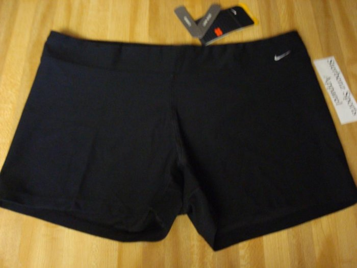 Nwt XL NIKE Fit Dry Women Low WorkOut Shorts New Black XLarge