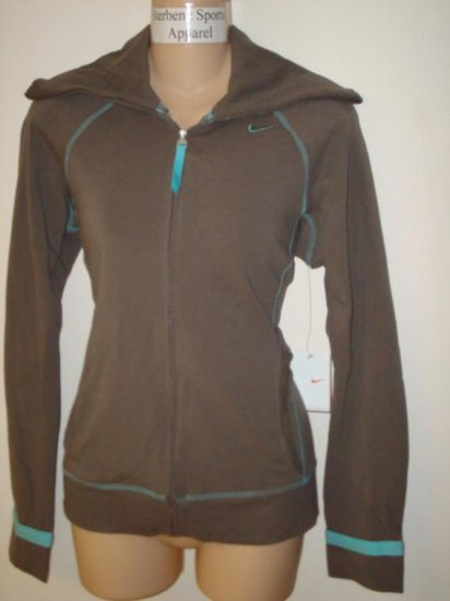 Nwt M NIKE Women Fit Dry Athlete Loose Jacket New $55 Medium Clay Paradise Aqua