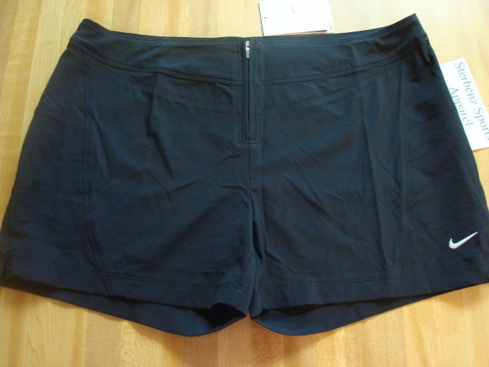 Nwt L NIKE Fit Dry Women Black Beach Shorts New $40 Large