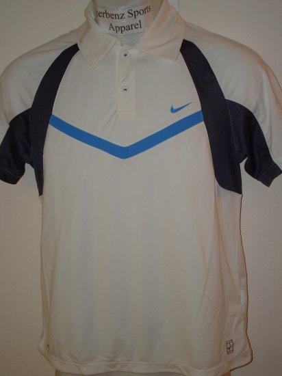 Nwt M NIKE Boys Fit Dry Control Tennis Polo Top New $38 Medium White 243887-100