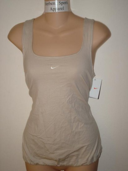 Nwt L NIKE Women Fit Dry Soy Dance Yoga Tank Top New Large Tan 226970-246
