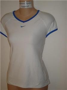 Nwt M NIKE Women Fit Dry Border Tennis Top Shirt New Medium White Blue 206794-149
