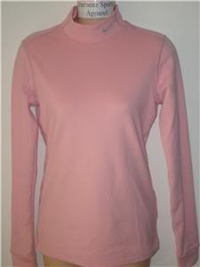 Nwt M NIKE Women Fit Dry Pink Mock Turtleneck Top New Medium 254805-627