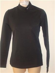 Nwt M NIKE Women Fit Dry Black Mock Turtleneck Top New Medium 254805-010
