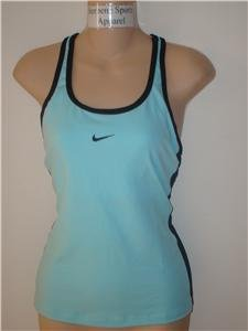 Nwt L NIKE Women Blue Fitness Tank Top New Tennis Run Large 228183-414