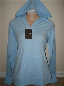 Nwt M NIKE Women Spring Hoodie Hoody Top New $38 Blue Medium 256213-404