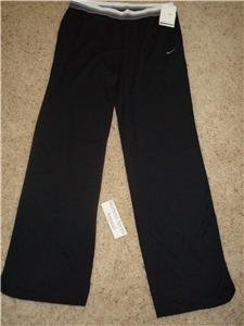 Nwt M NIKE Women Fit Dry Black Fitness Tennis Pants New Medium 255790-010